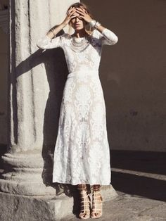 For Love & Lemons San Marcos Maxi Dress in Ivory