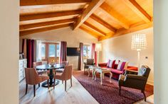 Enjoy the amazing landscape and calm down in our superior hotel in Switzerland. While delicious food and interesting events our guests enjoy nice days in Gstaad. Superior Hotel, Switzerland Hotels, Luxury, Table, Furniture, Home Decor, Decoration Home, Room Decor, Tables