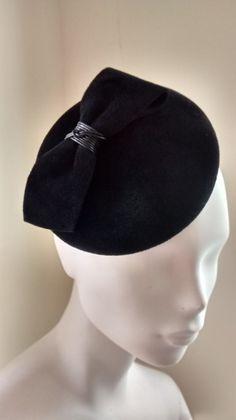 Cocktail Hat Fascinator Black Velour Weddings by MindYourBonce