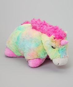 Look at this Rainbow Unicorn Pillow Pet on #zulily today!
