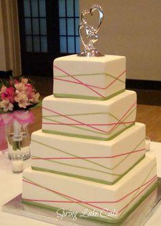 Criss Cross Ribbon Wedding Cake on Cake Central