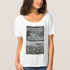 "Melancholy Spring Day Poetry Boyfriend T-Shirt.  Women's Bella+Canvas Slouchy Boyfriend T-Shirt with original micropoetry that captures the melancholy of the human soul as it is reflected in the enduring seasonal relationships of nature. Poem reads: ""Melancholy spring day / Has pulled a grey blanket / Over its head / Bidding the sun / To go away / All the colours have fled"" © Eleanor D'Occitania"