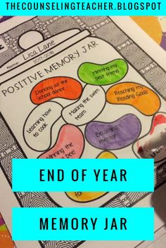 "This end of the year activity promotes growth mindset and mindfulness."" The memory jar collects positive memories to reflect on for years to come. End Of Year Activities, Calming Activities, Social Skills Activities, Counseling Activities, Therapy Activities, Grief Counseling, Work Activities, Elementary School Counseling, School Counselor"