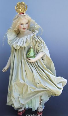 """""""The Frog Princess""""   One-of-a-Kind, High-Fired Clay w/Wax Body - Strong Moveable Skelton w/Soft Stuffing Body, Green Mouth Blown German Glass Eyes, Pale Blond Hand Knotted Human Hair, 33.5"""" Standing by Artist Hanna Goetz"""