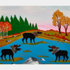 JOE NORRIS THREE MOOSE - THE CHALLENGE Inuit Art, Art Auction, Online Art, Philosophy, Art Decor, Moose Art, Challenge, Presents, Animals