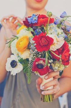 Work by Jolie. Dusty miller, feveWedding Bouquets Love the wildflower feeling to this bouquet and how colorful it is with the anemones and poppies! Poppy Wedding Bouquets, Poppy Bouquet, Floral Wedding, Wedding Colors, Wedding Flowers, Yellow Wedding, Bridal Bouquets, Summer Wedding, Dream Wedding