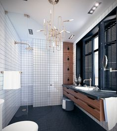 Modern Bathroom with Clark suspension lamp by @Delightfulll Mid-century Modern Design http://www.delightfull.eu/en/projects.php #contemporary