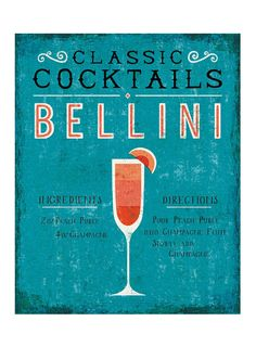 """Bellini Art Print Bar Themed Art - An illustrated guide to making a classic Bellini. - Illustration by Michael Mullan - Printed on 13x19"""" archival, acid-free Epson Velvet Fine Art Paper - Shown in 11x"""