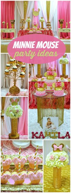 You have to see this glamorous Minnie Mouse first birthday! See more party ideas at CatchMyParty.com!