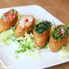 Tofu Pockets (spicy tuna, blue crab, pickled spinach, arugula & radish) @ CHAM Korean Bistro - Pasadena, CA