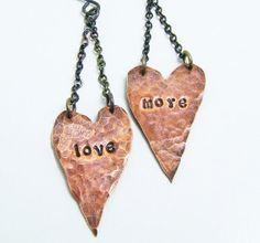 love more earrings, custom earrings, heart earrings, copper sterling silver earrings, valentines jewelry