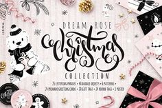 Rose Dream Christmas collection by catary art on @creativemarket