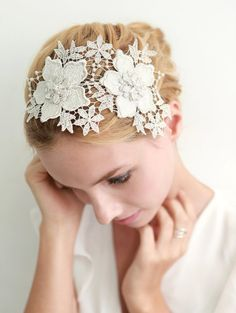 Lace headband, bridal headband, wedding headpiece, wedding hair - shooting star lace headband on Etsy, $40.00