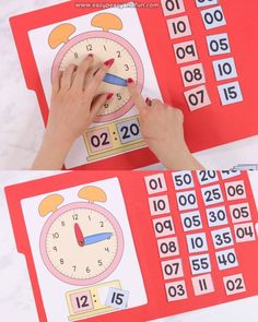 Practice telling time with this interactive file folder game. With this game your kids and/or students will be able to practice telling time to the 5 minutes, if you remove some of the game pieces Kindergarten Learning, Preschool Learning Activities, Fun Learning, Learning Clock, Division Activities, Teaching Time, Teaching Math, Math Math, Math Games