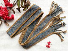 Tablet woven band indigo blue dark brown by BlueWoolStudio