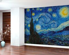 Van Gogh The Starry Night Wall Mural - Removable Vinyl self adhesive wallpaper, decal. Painting, art. Custom size