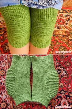 . Очень удобные наколенники! - Вязание - Страна Мам Knitted Slippers, Knitted Gloves, Knitting Socks, Free Knitting, Baby Knitting, Baby Sweater Knitting Pattern, Crochet Leaf Patterns, Chunky Knitting Patterns, Pullover Design