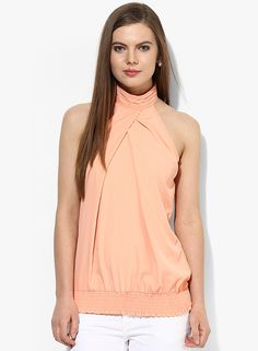 Buy Femella Peach Solid Blouse for Women Online India, Best Prices, Reviews  | FE248WA45TDYINDFAS