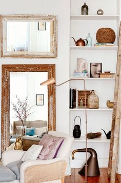 Tour a Brooklyn Living Room With Soft Colors and Simple Style via @domainehome
