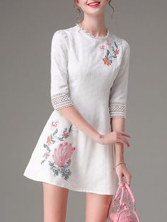 White Embroidered Jacquard 3/4 Sleeve Mini Dress
