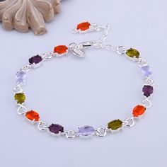 Fashion 18K White Gold Plated Gp Dazzling Multicolor Topaz Bracelet Jewelry A918