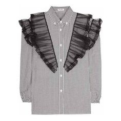 Miu Miu Check Cotton Blouse With Ruffled Tulle (6,165 CNY) ❤ liked on Polyvore featuring tops, blouses, flounce blouse, tulle top, black white top, ruffle blouse and frill blouse