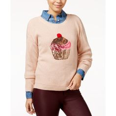 Hooked Up by Iot Juniors' Sequin Cupcake Graphic Sweater ($25) ❤ liked on Polyvore featuring tops, sweaters, pink dust combo, sequin pullover, pink sequin top, sequin top, sequin pullover sweater and pink sweater