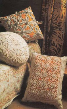 Vintage 1970s Knit & Crochet Pattern -LACE CUSHION COVERS, Boho Shabby Chic, Instant Download Pdf from GrannyTakesATrip 0145 on Etsy, £1.91