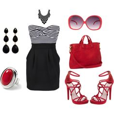 Red Hot, created by #fashionista-chick on #polyvore. #fashion #style Clare Vivier Kate Spade