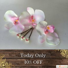 Today Only! 10% OFF this item.  Follow us on Pinterest to be the first to see our exciting Daily Deals. Today's Product: White wedding orchid and pearl and rhinestone hair pins bridal accessory or bridal gift or for any special occasion Buy now: https://www.etsy.com/listing/221378518?utm_source=Pinterest&utm_medium=Orangetwig_Marketing&utm_campaign=Summer_sale   #etsy #etsyseller #etsyshop #etsylove #etsyfinds #etsygifts #musthave #loveit #instacool #shop #shopping #onlineshopping #instashop…
