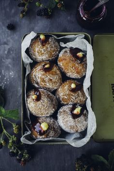 Blackberry + custard doughnut recipe. #doughnuts #desserts