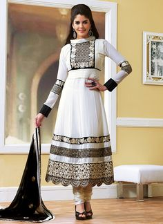 Timeless White Georgette Anarkali Suit
