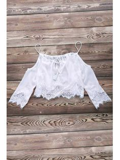 Combined Lace White Crop Top WHITE: Blouses | ZAFUL