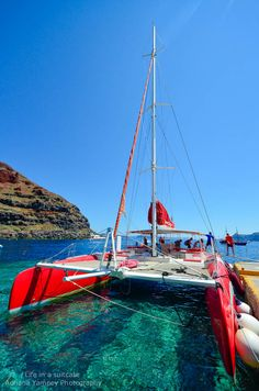 The Dream Catcher catamaran we will sail on in Santorini.  Think of Scott and I on the 16th of July, 2014 basking in the sun and sailing the seas around Santorini, Greece.  Ahhh, yes!