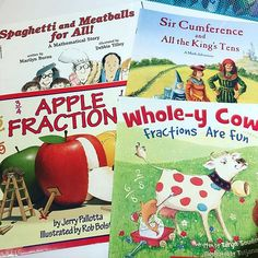 Math books for upper elementary grades covering fractions, multiplication, and circumference. These picture books are great for 3rd, 4th, or 5th grade.