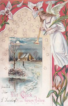Merry Christmas Postcard with Angel Blowing Her Horn over a Snowy Church Surrounded by Flowers Vintage Christmas Images, Victorian Christmas, Retro Christmas, Christmas Pictures, Christmas Art, Christmas Cards To Make, Christmas Greeting Cards, Christmas Angels, Christmas Greetings