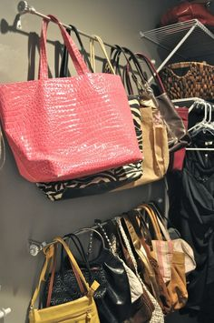 I like this idea for storing purses in a closet.  It could even be done on the back of a door.