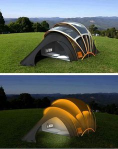 Solar Powered Tent. This is sustainable, it is inspiration as it shows that solar power panels come in different shapes.