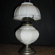 Miniature Kerosene Oil Lamp - Ribbed Milk Glass Circa 1880