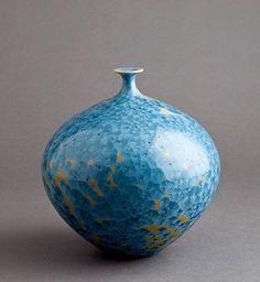 Porcelain turquoise and yellow crystalline glazed vase  – Hideaki Miyamura