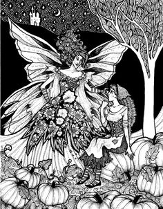 Cinderella and her Fairy Godmother- Fairy Tales by Ithelda Colouring Pages, Adult Coloring Pages, Fantasy Drawings, Art Drawings, Grimm Fairy Tales, First Art, Faeries, Art Images, Line Art