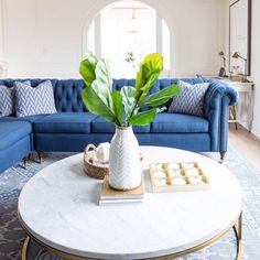 """2,777 Likes, 24 Comments - Style Me Pretty Living (@smpliving) on Instagram: """"Can't get enough of this blue velvet couch? Neither can we! #SMPLoves   Photography:…"""""""