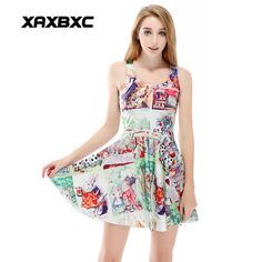 >> Click to Buy << XAXBXC 1188 Summer Sexy Girl Dress Comics Party Alice in Wonderland  Prints Reversible Vest Skater Women Pleated Dress Plus size #Affiliate
