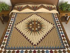 Mariners Compass Quilt -- exquisite well made Amish Quilts from Lancaster (hs6341)
