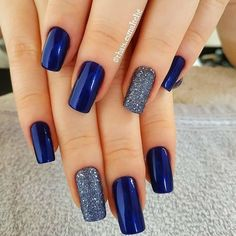 Nail - The best 10 nail art tips - - night blue silverly nail art nails nail ideas trendy nails blue nails. Winter Nails Colors 2019, Nail Colors, Stylish Nails, Trendy Nails, Hair And Nails, My Nails, Cute Acrylic Nails, Nail Art Hacks, Gorgeous Nails