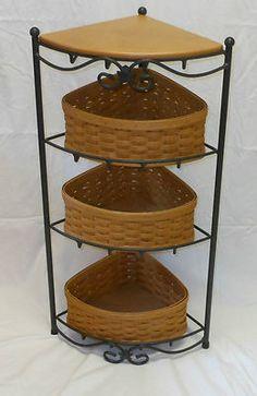 2002 LONGABERGER WROUGHT IRON CORNER STAND 4 TIER SHELF~3 BASKETS~1 WOOD SHELF~