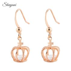 Find More Stud Earrings Information about 2016 Crown Austrian Crystal Wedding Stud Earrings 18K Rose Gold Plated Fashion CZ Diamond Crown Jewelry For Women Brincos,High Quality jewelry earings,China earring boutique Suppliers, Cheap jewelry organizer earrings from shuyani Official Store on Aliexpress.com