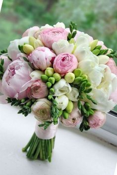 pink freesia bridal bouquet