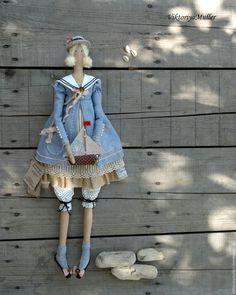 Купить кукла тильда ручной работы ДЕВОЧКА С КОРАБЛИКОМ - голубой, купить Тильду