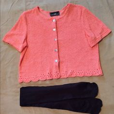 NEW Pretty Peach top & FREE black rights. NEW peach Color top. Bought to wear over a sleeveless dress-never got to. Also, tights are new. Never wore them. Both excellent condition. Molly Malloy Tops